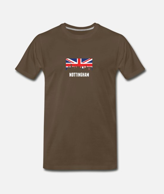Nottingham T-Shirts - British Flag Nottingham Skyline - Men's Premium T-Shirt noble brown