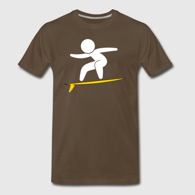A Surfer With His Surfboard - Men's Premium T-Shirt