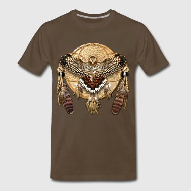 Native American Mandala - Red-Tailed Hawk - Men's Premium T-Shirt