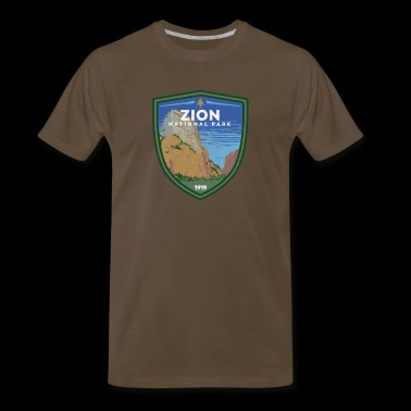 Zion National Park Vintage Utah Badge Design - Men's Premium T-Shirt