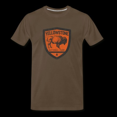 Yellowstone National Park Vintage Badge Bison Design - Men's Premium T-Shirt