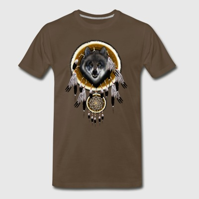 Grey Wolf Dream Catcher TSHIRT - Men's Premium T-Shirt