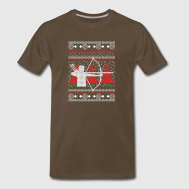Archery Ugly Christmas Sweater Hunting T-Shirt - Men's Premium T-Shirt