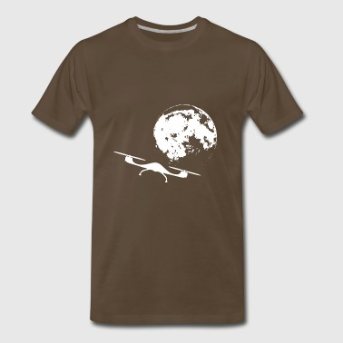 Drone flies to the bright moon - Men's Premium T-Shirt