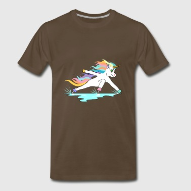 Fast ice skating unicorn in inclined position - Men's Premium T-Shirt
