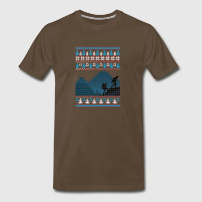 Hiking Ugly Christmas Sweater Holiday T-Shirt - Men's Premium T-Shirt
