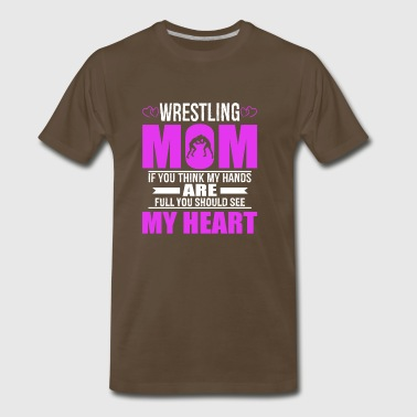 Wrestling Mom Full Heart Mothers Day T-Shirt - Men's Premium T-Shirt