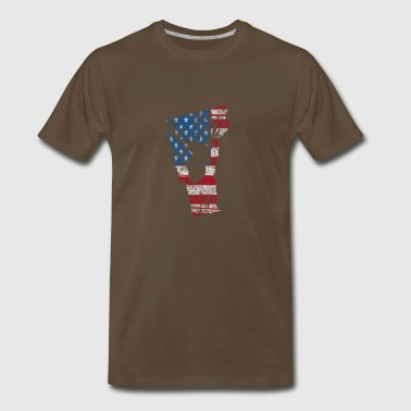 American Flag Vermont Deer Hunting Distressed T-Sh - Men's Premium T-Shirt