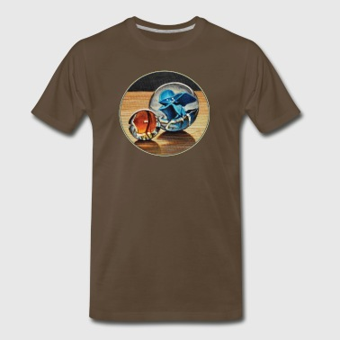 Orange and Blue Glass Marbles - Men's Premium T-Shirt