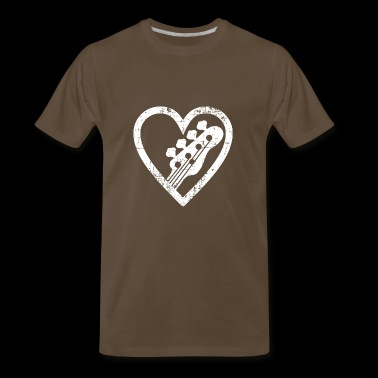 Big heart with and for bass guitar lovers - Men's Premium T-Shirt