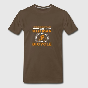 Funny Never Underestimate Old Man With Bicycle Gif - Men's Premium T-Shirt
