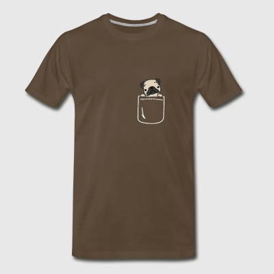Pug In Your Pocket Funny Confused Dog Face - Men's Premium T-Shirt