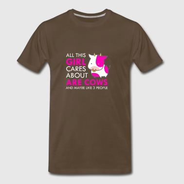 All This Girl Cares About Cows Funny Cute - Men's Premium T-Shirt