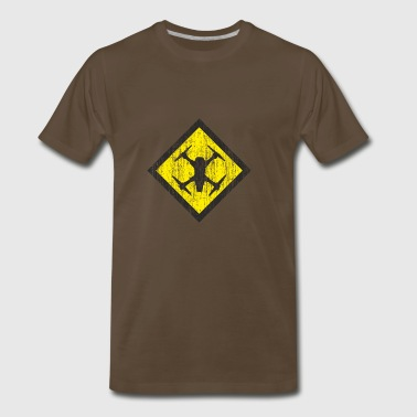 Cool Drones Shield in check form yellow background - Men's Premium T-Shirt