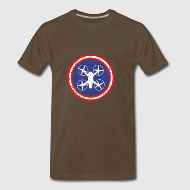 Round symbol with quadrocopter in the middle - Men's Premium T-Shirt