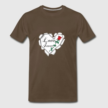 Everlasting love with a romantic heart with rose - Men's Premium T-Shirt