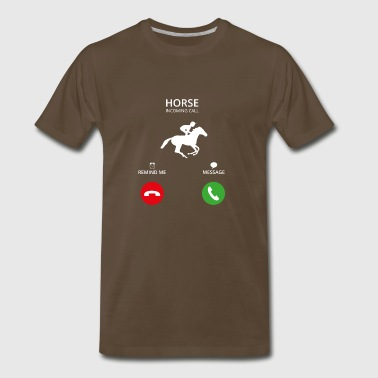 Call Mobile Anruf HORSEWOMAN riding horse - Men's Premium T-Shirt