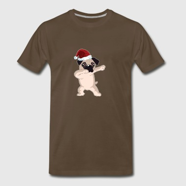 Cute Pug Dabbing Christmas Shirt - Men's Premium T-Shirt
