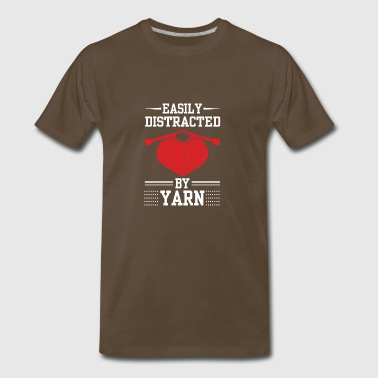 Easily Distracted By Yarn Knitting Shirt - Men's Premium T-Shirt