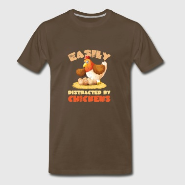 Funny Easily Distracted by Chicken - Men's Premium T-Shirt