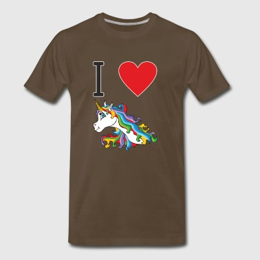 I love cute colourful sweet unicorn - Men's Premium T-Shirt
