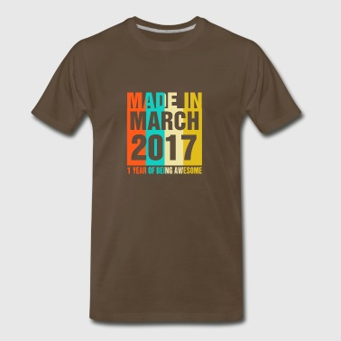 Retro March 2017 1 Year Of Being Awesome - Men's Premium T-Shirt