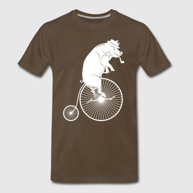 Pig with Hat & Pipe Riding a Bike White Silhouette - Men's Premium T-Shirt