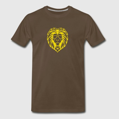 Gold Lion with sunglasses - Men's Premium T-Shirt