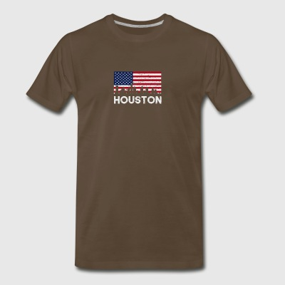 Houston TX American Flag Skyline Distressed - Men's Premium T-Shirt