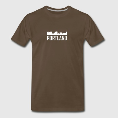 Portland Maine City Skyline - Men's Premium T-Shirt