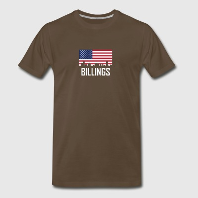 Billings Montana Skyline American Flag - Men's Premium T-Shirt