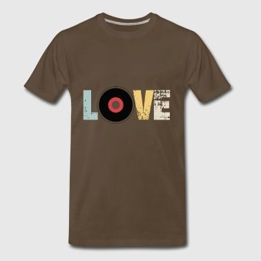LOVE VINYL - Retro Vintage DJ Music - Men's Premium T-Shirt