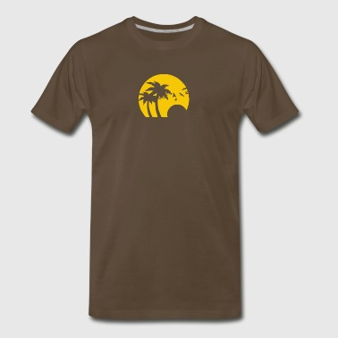 Beach Silhouette Birds Sand Sunset - Men's Premium T-Shirt