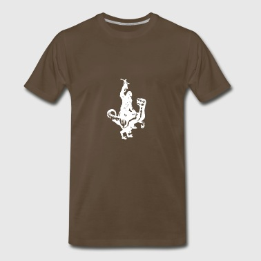Chewbacca Riding a Velociraptor Dinosaur - Men's Premium T-Shirt