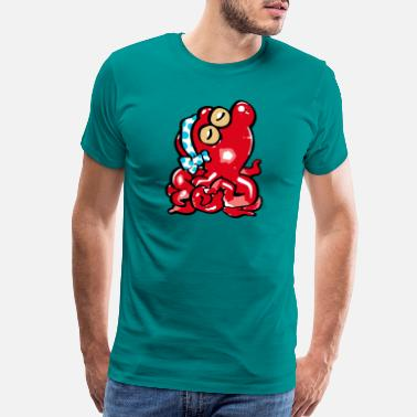 Samurai red octopus - Men's Premium T-Shirt