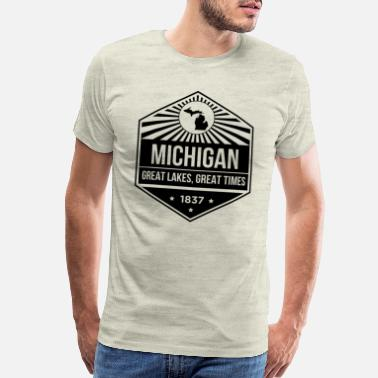 Wolverines Michigan State Motto design - Great Lakes, Great - Men's Premium T-Shirt