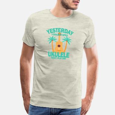 Acoustic Guitar Yesterday I couldnt spell ukulele today I play one - Men's Premium T-Shirt