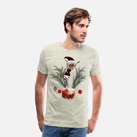 Party T-Shirts - Cute little christmas girl - Men's Premium T-Shirt heather oatmeal