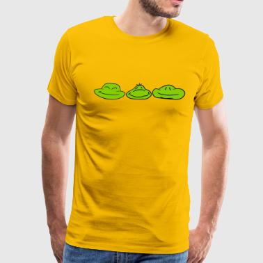 3 faces frog buddies team heads pattern funny - Men's Premium T-Shirt