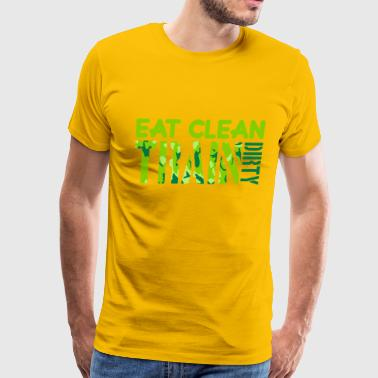 Eat clean strong text healthy train logo stamp wei - Men's Premium T-Shirt