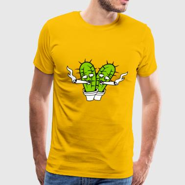 2 friends team cactus pothead weed joint drug smok - Men's Premium T-Shirt