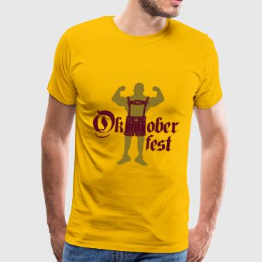 Oktoberfest text font large strong muscles bodybui - Men's Premium T-Shirt