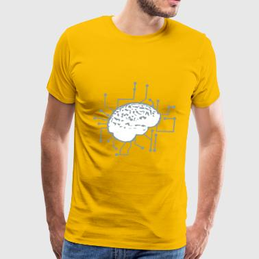 Connecting thinking brain power plug electronicall - Men's Premium T-Shirt