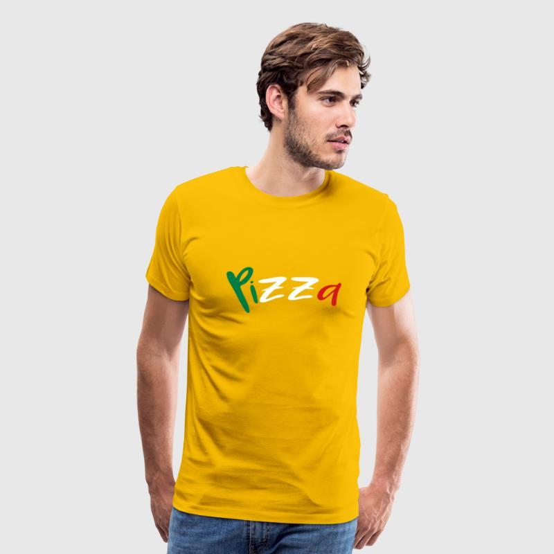 Pizza text lettering logo design italy flag colors - Men's Premium T-Shirt