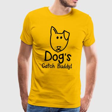 Dog's CATCH Buddy! cute little dog face with a smile! - Men's Premium T-Shirt