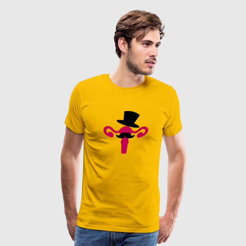 completely tasteless woman's reproductive system with a top hat and moustache - Men's Premium T-Shirt