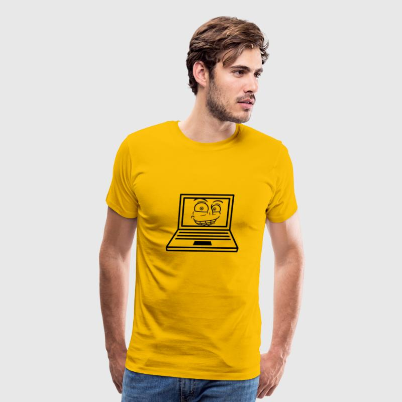 face, comic cartoon grin computer laptop notebook  - Men's Premium T-Shirt