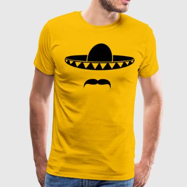 Sombrero with a beard from Mexico - Men's Premium T-Shirt