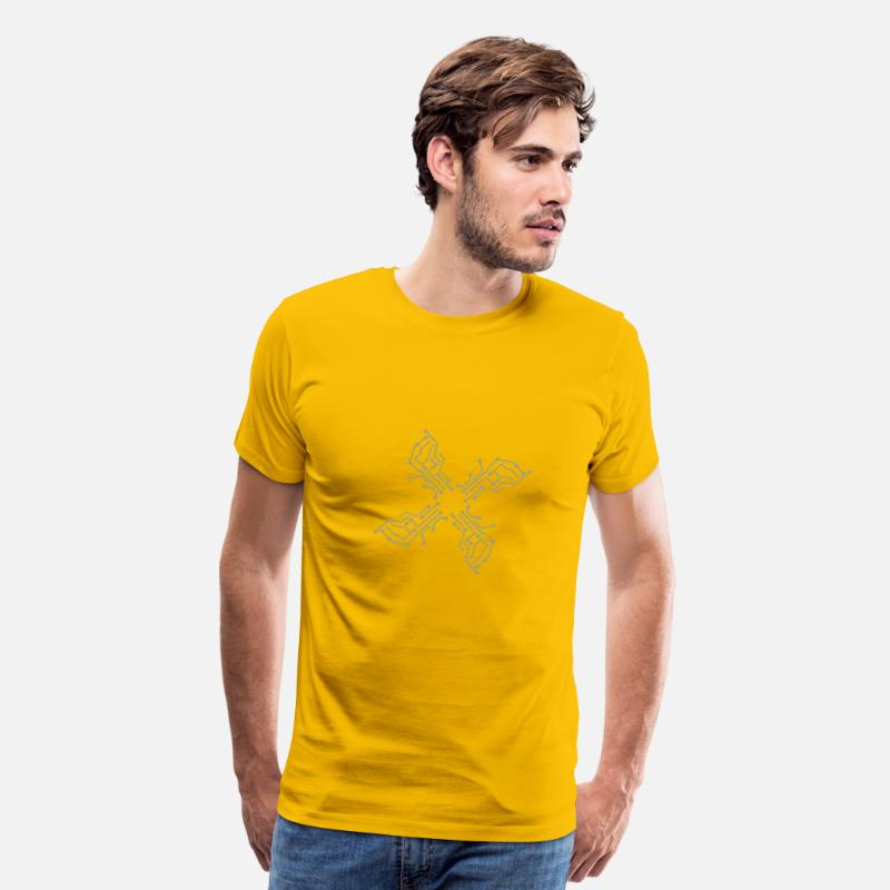 Computer T-Shirts - cool lines design circuitry technology lines micro - Men's Premium T-Shirt sun yellow