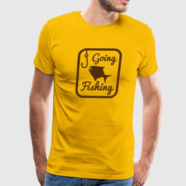 GOING FISHING with happy fish and hook in a rectangle  - Men's Premium T-Shirt